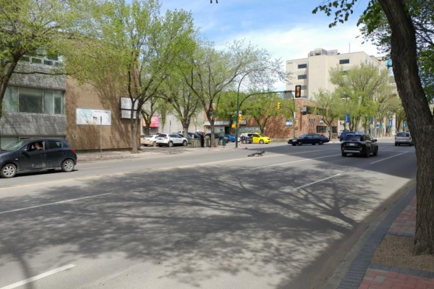 Boy riding bike struck by car in downtown Saskatoon