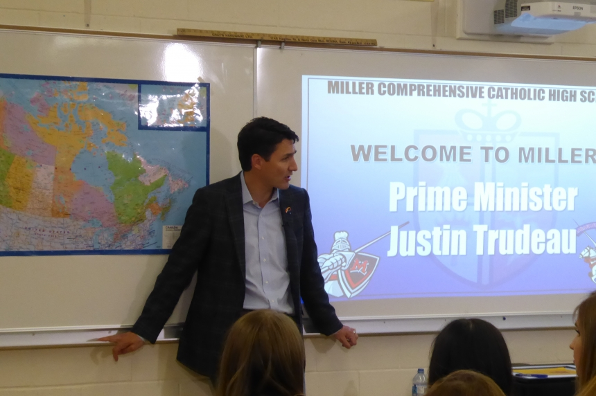 45 years after his father, Trudeau visits Regina school