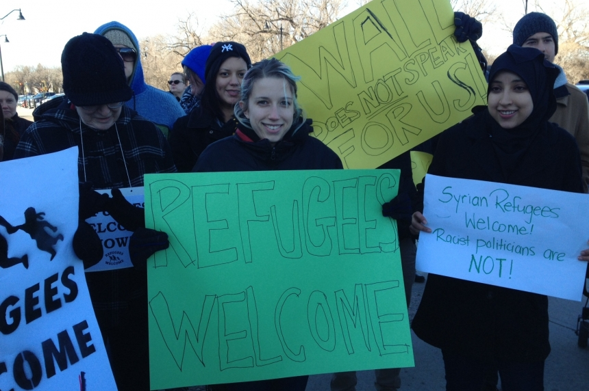 """Refugees are welcome here!"" Rally responds to premier's letter to federal governmnt"