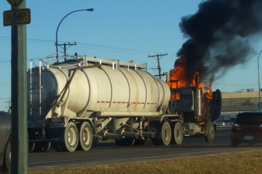 Semi truck catches fire on Circle Drive