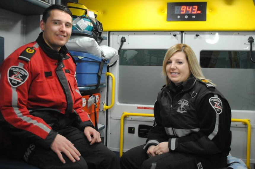 Paramedics excited about baby delivery in back of ambulance