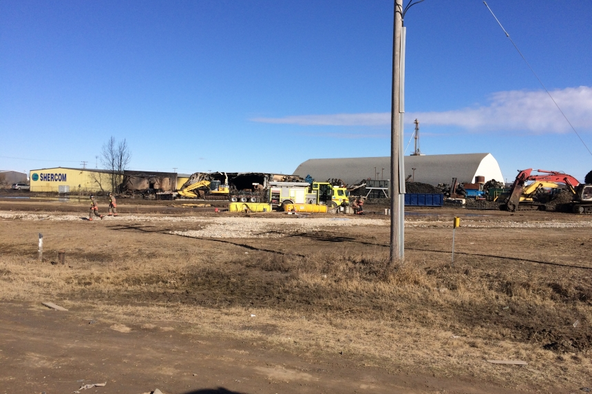 Fire department close to finishing up at scene of industrial blaze