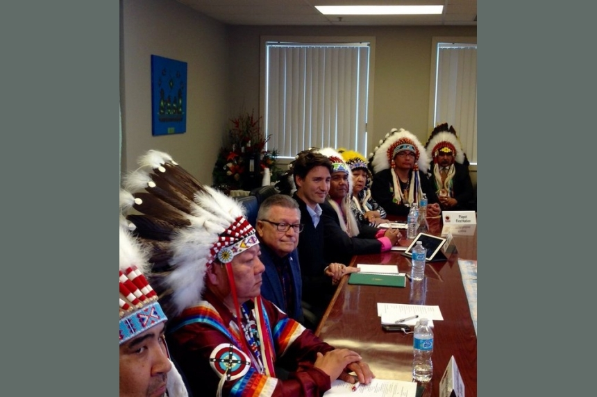 Prime Minister Justin Trudeau meets with First Nations chiefs in Fort Qu'Appelle