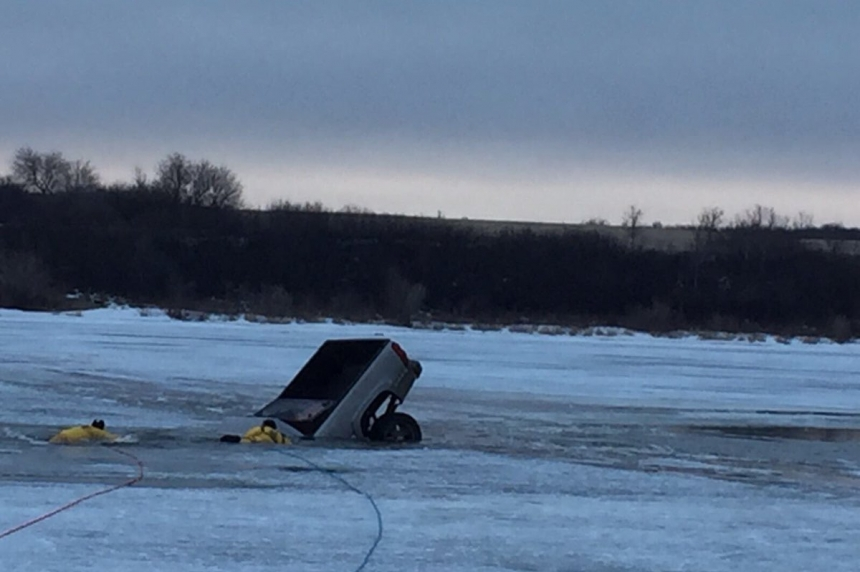 Vehicle goes through ice at Clarkboro Ferry