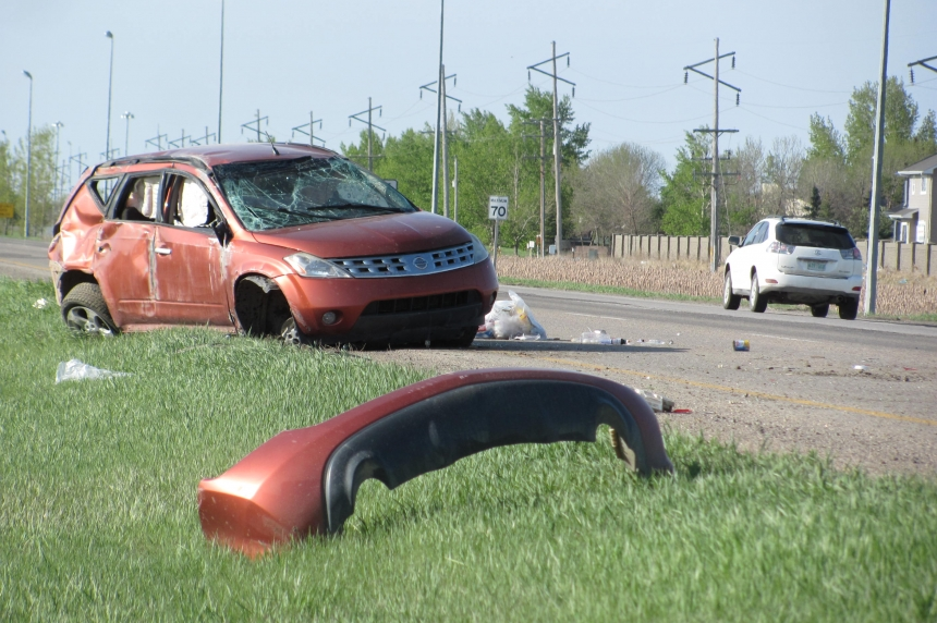 Driver sent to hospital after rollover North of Regina