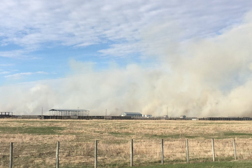 Grass fire west of Saskatoon caused by train