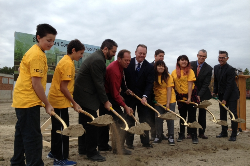 Students help break ground on Regina's new Sacred Heart school