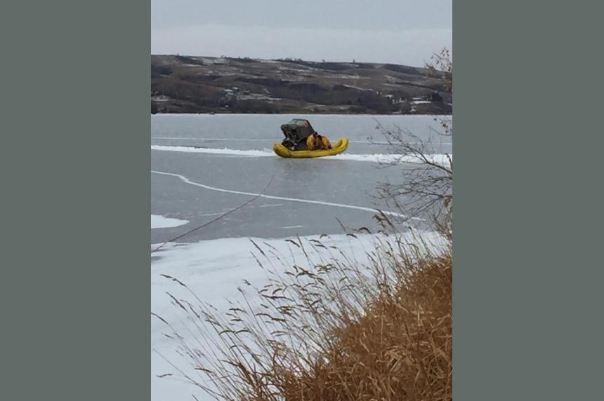 2 men taken to hospital after truck breaks through ice on Sask. lake
