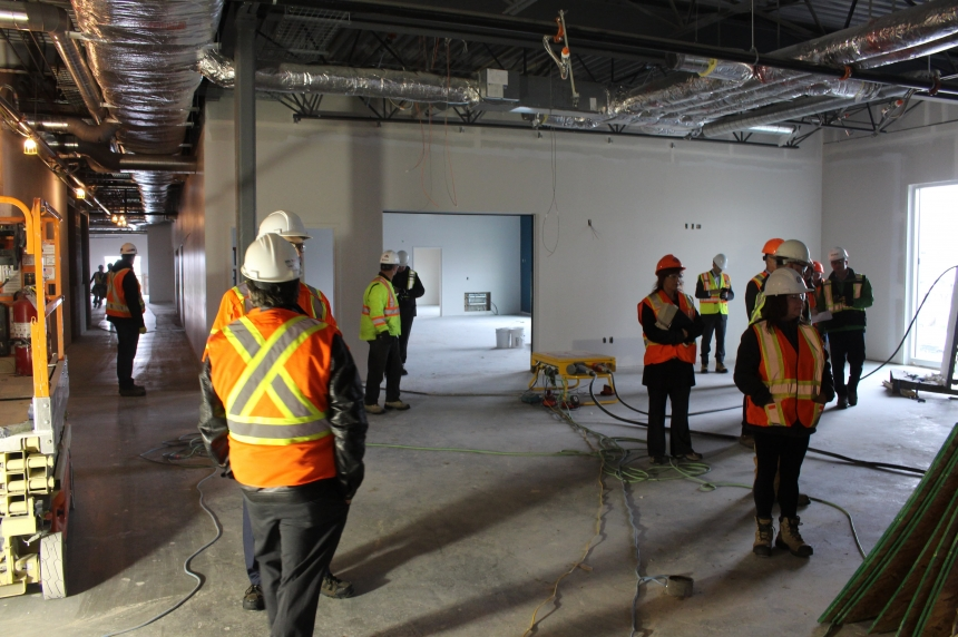 Deputy Premier Don Morgan tours site of joint-use school in Harbour Landing