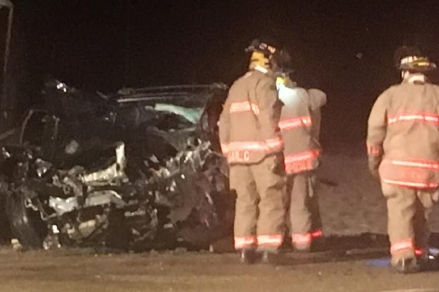 Collision sends one man to hospital after being pried from an SUV south of Saskatoon