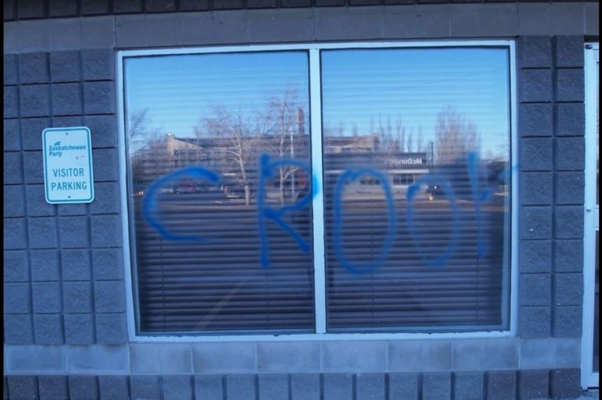 Sask. Party headquarters vandalized by 'jackwagon'