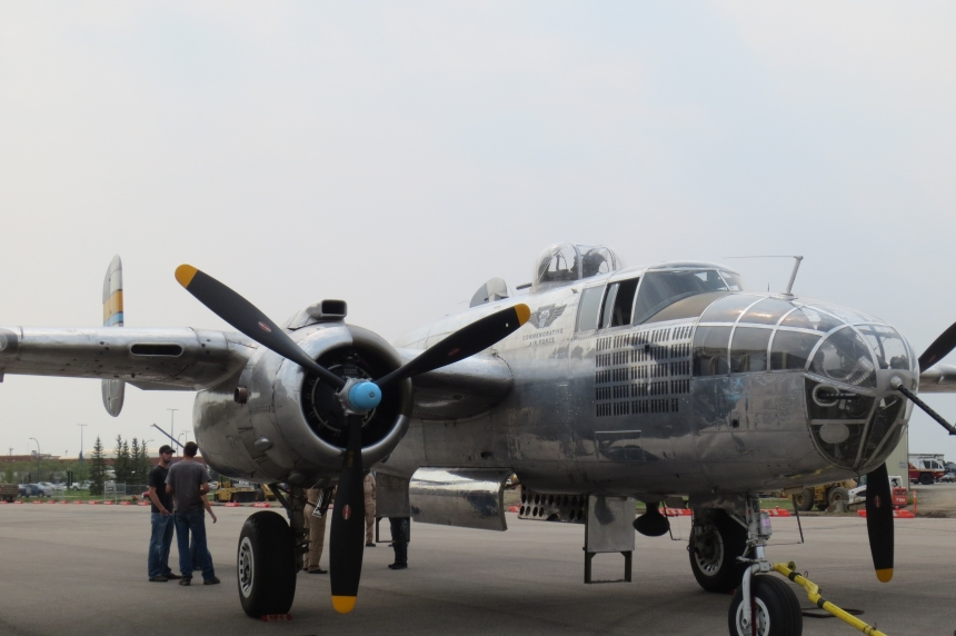PHOTOS/VIDEO: Historic B-25 bomber soars over Regina