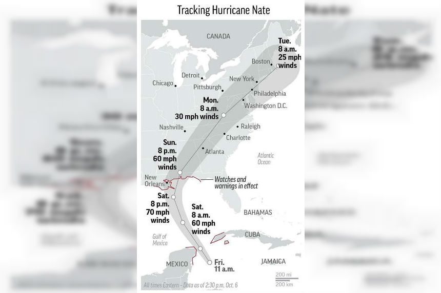 US Gulf Coast braces for fast-approaching Hurricane Nate