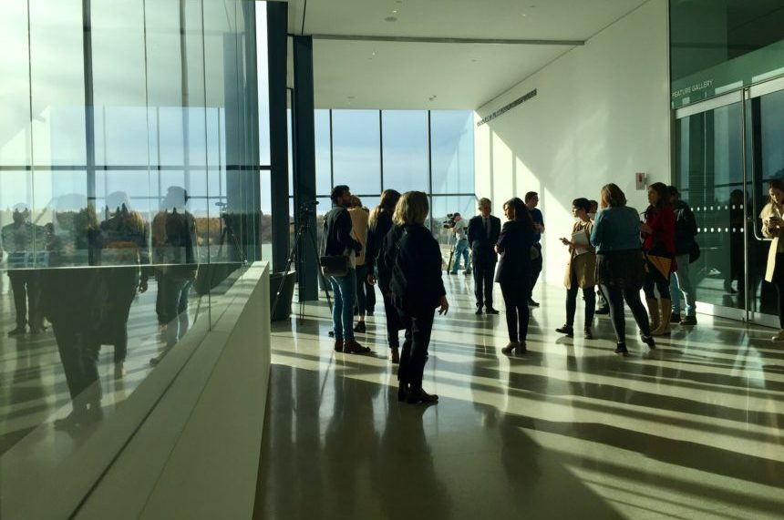 Visitors in the Gordon and Jill Rawlinson Gallery Lounge on the third floor of the Remai Modern on Oct. 19, 2017. (Daniella Ponticelli/650 CKOM)