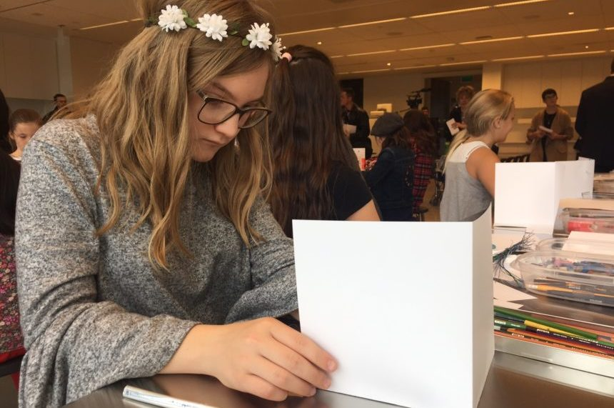A student works on an art project in one of the learning studios at the Remai Modern on Oct. 19, 2017. (Daniella Ponticelli/650 CKOM)