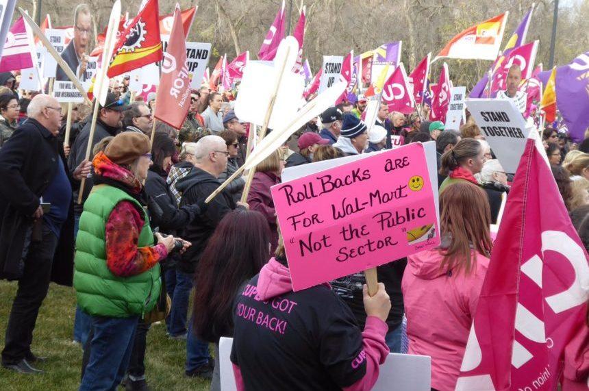 Unions rally to reverse cuts outside Sask. legislature