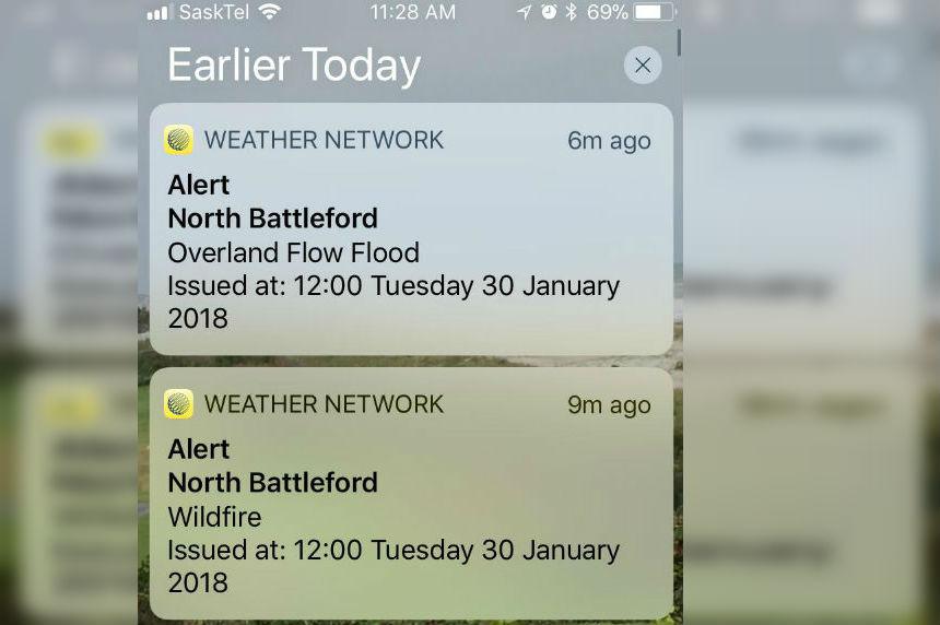 SaskAlert sends false alert about wildfire and flood in North Battleford