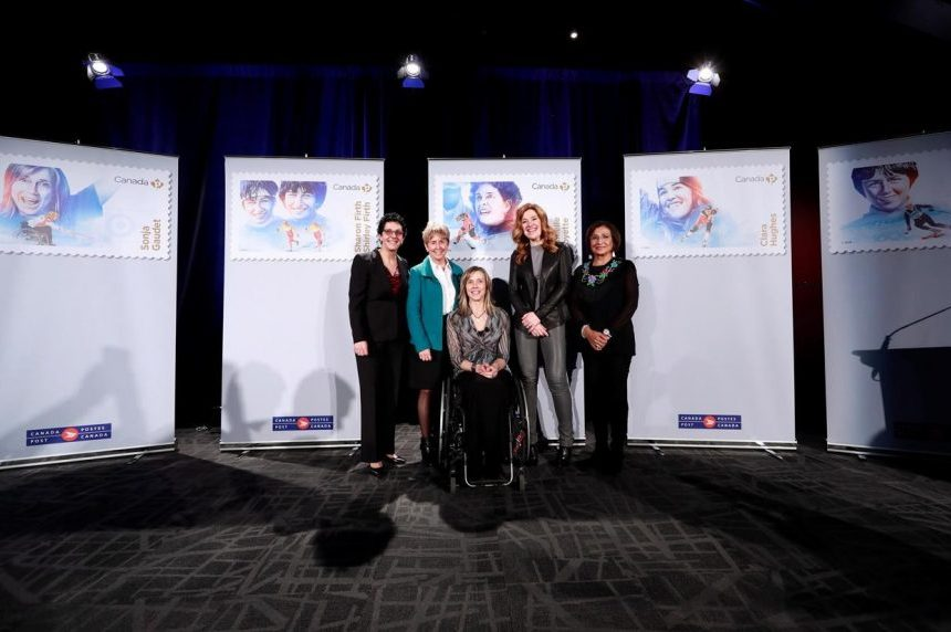 Hughes and Greene featured in Women in Winter Sports stamp series