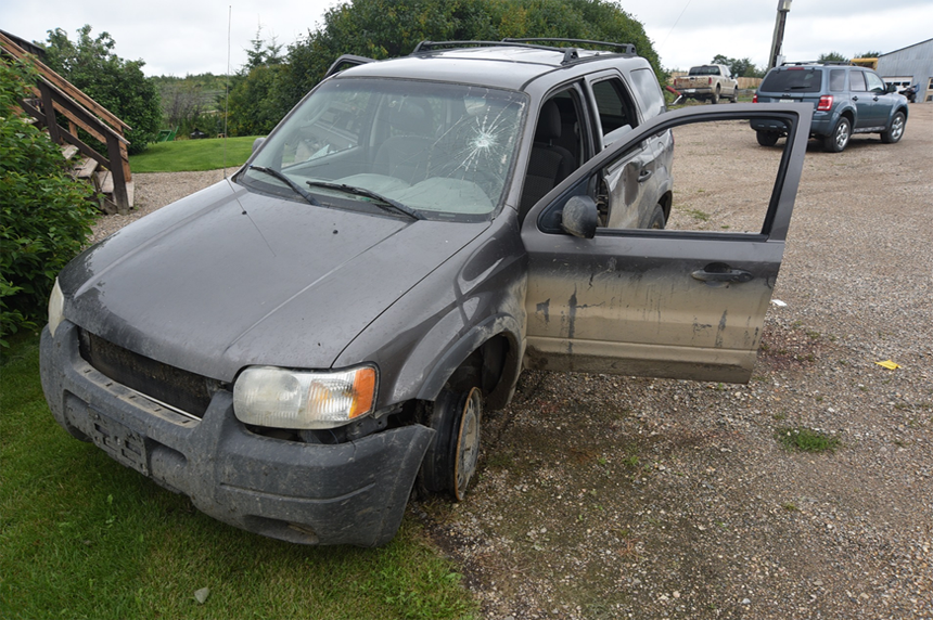 A crime scene photo showing the SUV 22-year-old Colten Boushie was in when he was shot and killed on Aug. 9, 2016 on a farm owned by Gerald Stanley. (RCMP Photo)