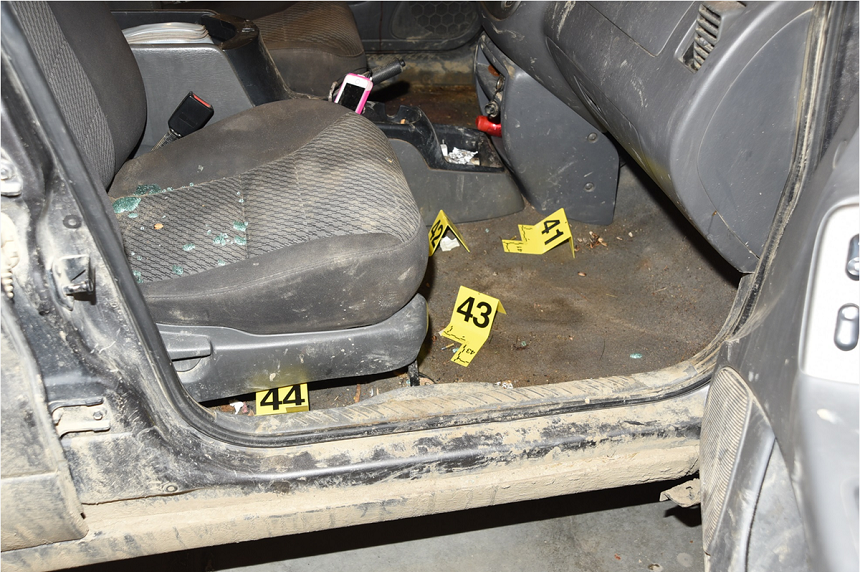 Several live rounds and spent casings for a .22 rifle were found on the floor of the grey SUV Colten Boushie's body was found near. Eric Meechance told court they had been shooting cans from the SUV behind Boushie's grandmother's home earlier in the day. (RCMP)