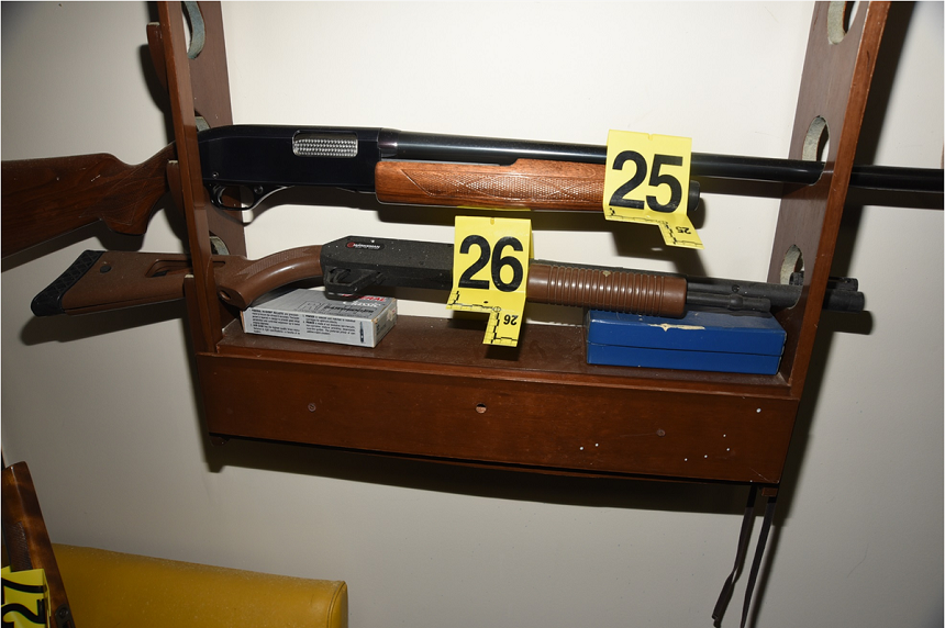 Five firearms and two pellet guns were found on racks and leaning against the wall in Gerald Stanley's basement. (RCMP)