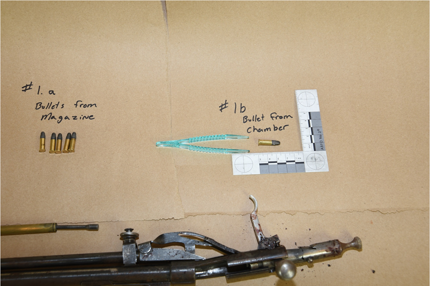 A live round was found in the chamber of a broken .22-calibre rifle found near Colten Boushie's body. The rifle was stock-less, with a bent barrel and damaged bolt. (RCMP)