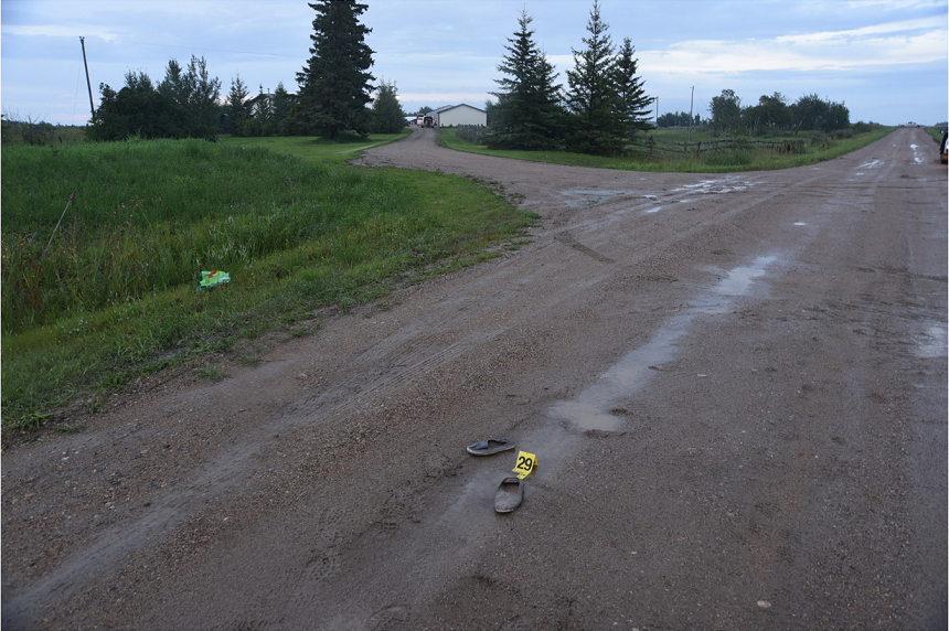 A pair of canvas shoes was found on the grid road near Gerald Stanley's farm. Both Eric Meechance and Cassidy Cross have said they ran away from the farmyard as shots were fired. (RCMP)