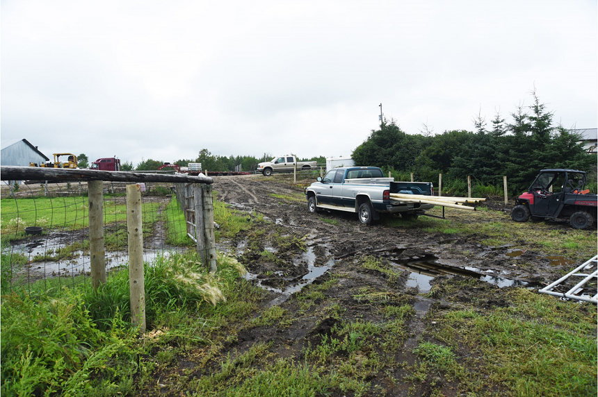 Sheldon Stanley, Gerald Stanley's son, told court he and his father were working on a fence when they saw the grey SUV enter their yard. (RCMP)