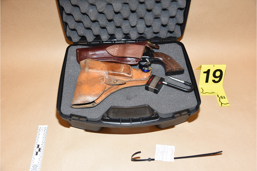 A gun box with two handguns, a Tokarev and a Ruger, was found in a closet in Gerald Stanley's home. An agreed statement of facts says the Tokarev fired three shots during the confrontation with a grey SUV, where Colten Boushie ended up being shot dead. (RCMP)