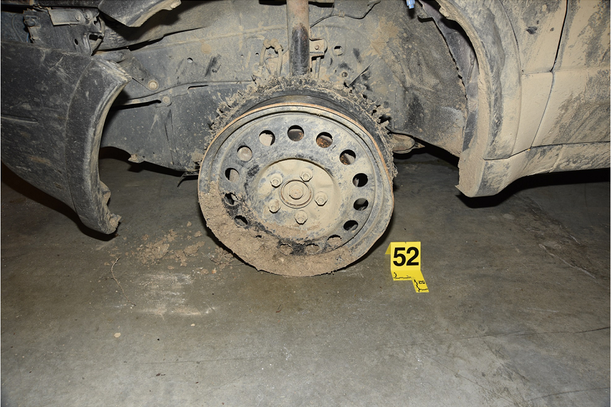 The front driver's-side tire of the SUV Colten Boushie was found near was discovered shredded by RCMP. (RCMP)