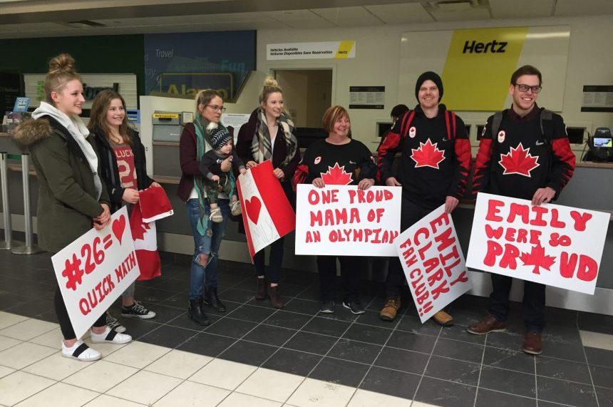 Friends and family wait to greet Olympian Emily Clark at the Saskatoon airport on Feb. 27, 2018. (Daniella Ponticelli/650 CKOM)