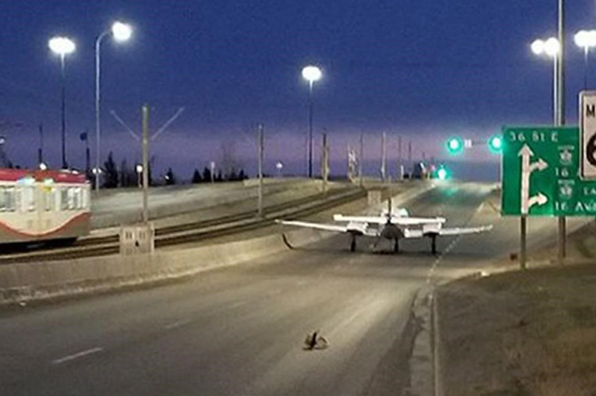 Small aircraft short on fuel touches down on Calgary street