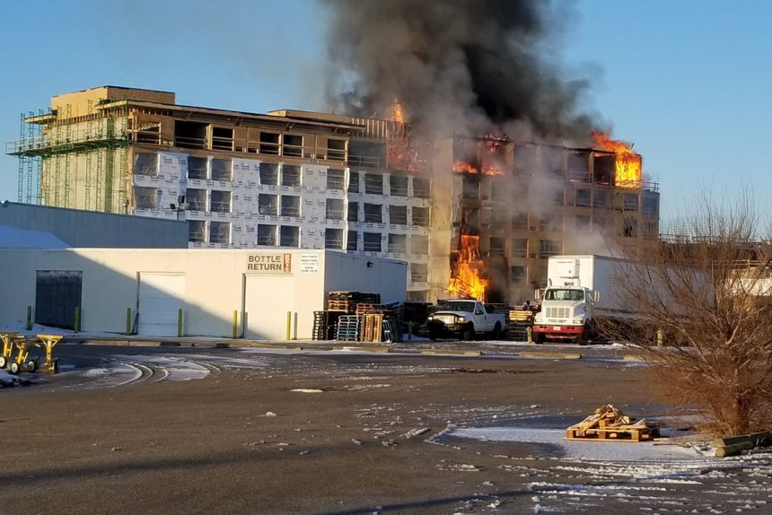 Saskatoon fire crews battle blaze at hotel construction site