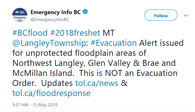 BREAKING: Evacuation ALERT (Not an Evacuation Order) Issued For Parts Of Langley