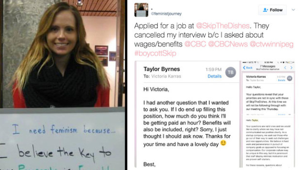 Winnipeg woman's job interview cancelled because she inquired about wages...