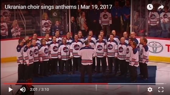"HOOSLI Winnipeg's Ukrainian Men's Choir ""Slays""  the National Anthems!"