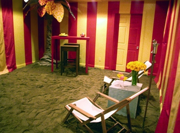 Another great idea.  Let's paint your room like a circus tent and then instead of carpet or maybe some hardwood, we'll just cover the floors in sand.