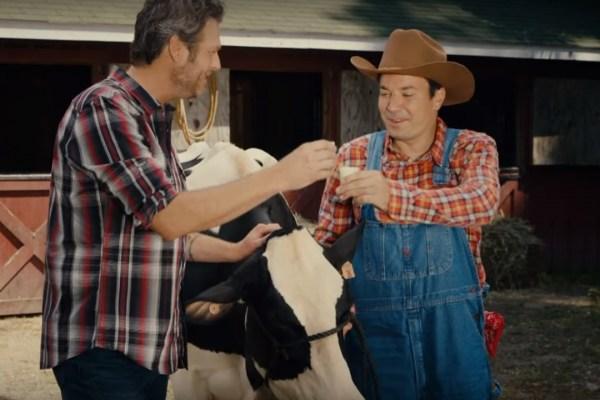 Blake Shelton Takes A Ride on Jimmy Fallon's New Theme Park Attraction