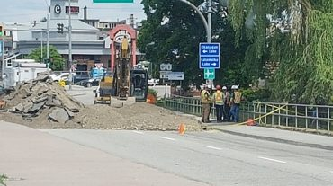 Sinkhole Disrupts Traffic On Highway 97 In Vernon