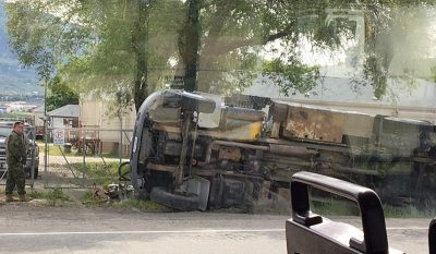 Big Truck On Its Side
