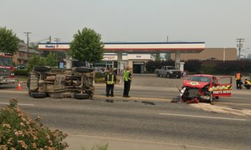 Crash Puts SUV On Its Side