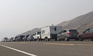 lineup-of-vehicles-waiting-to-get-back-to-cache-creek-july-182017