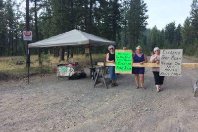 Grannies Make Stand at Roadblock