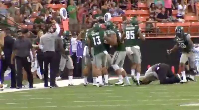 Most painful football celebration EVER