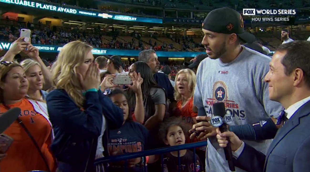 """Just won the World Series...AND she says """"Yes"""".  See it here!"""