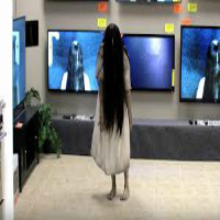 Girl from The Ring comes out of TV in store