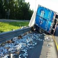 Beer Truck Crashes & Soaks Cop