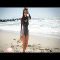 Surfing Women Wear Only Body Paint
