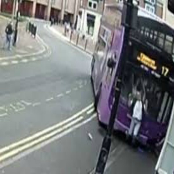 Bus Crashes into Man who then Gets up and WALKS into Pub