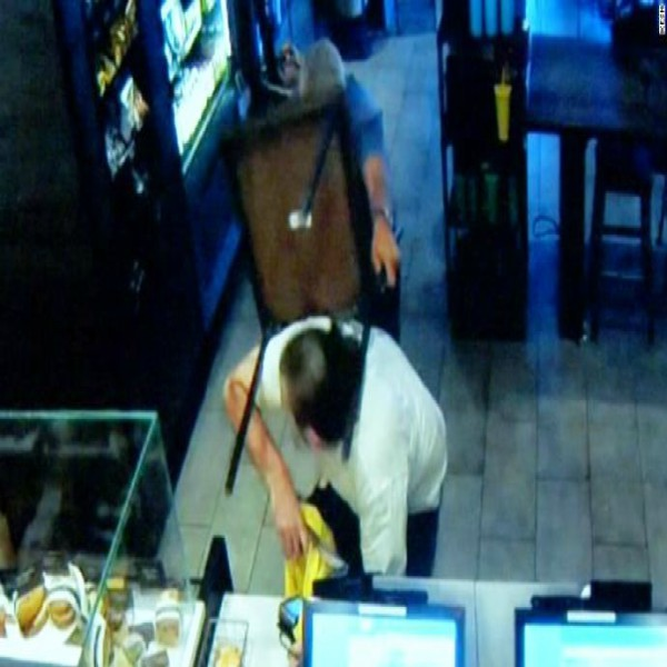 Starbucks customer takes on armed robber